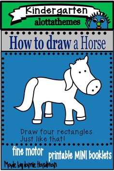 This activity is a fun and engaging hands on activity practicing those fine motor skills. Who doesn't want to learn how to draw a horse! I know my students had fun during our farm unit. Language Activities, Motor Activities, Hands On Activities, Kindergarten Activities, Farm Unit, Directed Drawing, Horse Farms, Fine Motor Skills, Learn To Draw