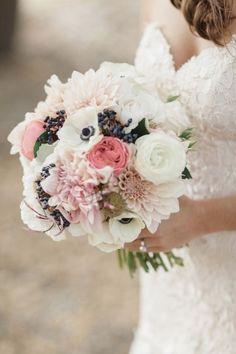 Bridal Bouquet, Seascape Flowers - California Wedding  http://caratsandcake.com/myriahandcorey