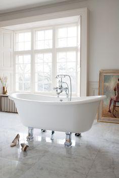 Relax in our classic style freestanding bath with chrome legs. Traditional Baths, Traditional Bathroom, Burlington Bathroom, Long Bath, Bad Styling, Bathroom Trends, Bathroom Ideas, Classic Bathroom, Classic Elegance