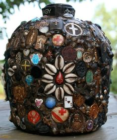 my amazing friend Julie made this and if i become independently wealthy, i'll buy it!  Memory Jug CLERGY by confettijulie on Etsy, $1299.00