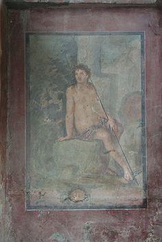 fresco depicting the myth of narcissus. the house of octavius quartio at pompeii. Ancient Pompeii, Pompeii And Herculaneum, Ancient Ruins, Ancient Artifacts, Ancient History, Pompeii Italy, Roman History, Art History, Villa Romaine