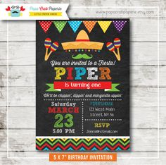 Cinco de Mayo Fiesta Chalkboard Birthday Party by PapaCrabPaperie, $12.00