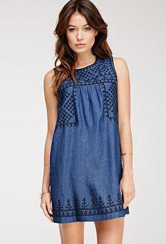 66582699e7c Denim Dress Embroidered Denim Dress