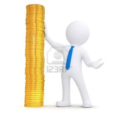 3d white man next to a pile of gold coins  Isolated render on a white background Stock Photo