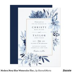 Modern Navy Blue Watercolor Floral Wedding Invitation A beautiful and modern invitation with hand painted flowers. This design will add a perfect touch to your wedding. Personalize it with your your details or add an additional wording to it! Country Wedding Invitations, Watercolor Wedding Invitations, Elegant Wedding Invitations, Wedding Invitation Cards, Wedding Cards, Diy Wedding, Floral Invitation, Wedding Blue, Invitation Card Design