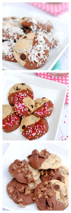 Chocolate Dipped Chocolate Chip Cookies with Coconut, Reese's, Salted Caramel OR Sprinkles!