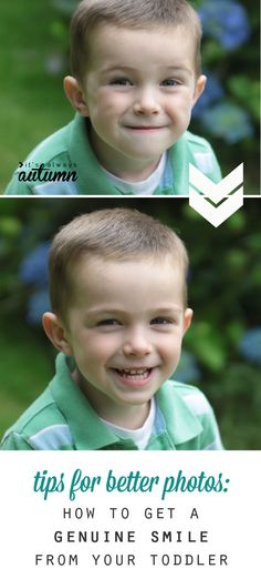 tired of cheesy grins from your kids in photos? try these 5 tips for getting a beautiful, genuine smile from your toddler or preschooler. I'm going to try #5 for sure!