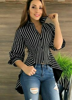 Swans Style is the top online fashion store for women. Shop sexy club dresses, jeans, shoes, bodysuits, skirts and more. Casual Wear, Casual Outfits, Cute Outfits, Blouse Styles, Blouse Designs, Love Fashion, Womens Fashion, Fashion Trends, Diy Vetement