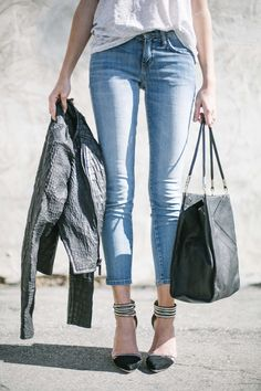 Rachel Zoe jacket, Current Elliot jeans, See by Chloe bag, LAMB shoes