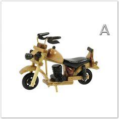 Pinkbagoly: Kisméretű fa motorkerékpár - 15 cm