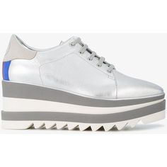 Stella Mccartney Sneak-Elyse Platform Sneakers (2.960 RON) ❤ liked on Polyvore featuring shoes, sneakers, metallic, white lace up sneakers, white loafers, lace up sneakers, platform sneakers and sport shoes