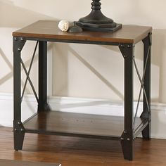 Windham Square Solid Wood/ Iron End Table | Overstock.com Shopping - Great Deals on Coffee, Sofa & End Tables