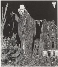 Henry Clarke, Illustrator.  1922, The Last Hour of the Night, illustration to Dublin of the Future