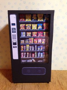 Dolls house miniature handmade vending machine 1/12 scale for cafeteria, pub, shopping mall, leisure centre etc