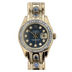 Rolex Lady's White Gold, Diamond, Sapphire Pearlmaster Watch | From a unique collection of vintage wrist watches at http://www.1stdibs.com/jewelry/watches/wrist-watches/