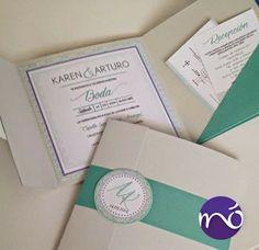 Invitaciones para boda color lagoon