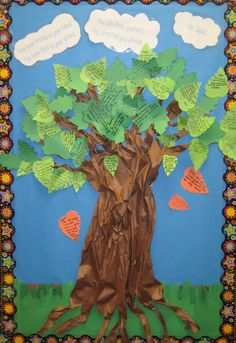 """Kindness Tree :) Students write kind things about each other and then place it on our kindness tree. The quote in the clouds is by Dr. Seuss """"You have brains in your head. You have feet in your shoes. You can steer yourself any direction you choose."""""""