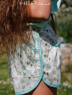 HER Little World, Joyeux - summer shorts, retro styling with front and back pockets. Age 2-10 - registration needed
