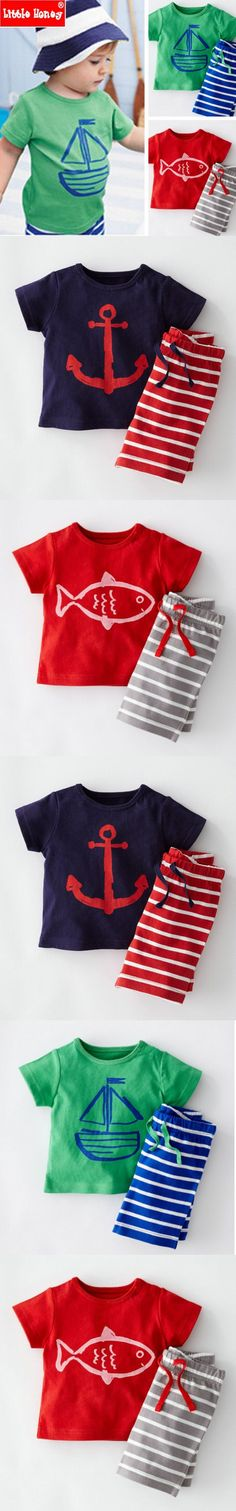 2T-6T Kids Boys Clothes Summer Children Toddler Boys Clothing Set Cotton Cartoon Pirate Child Fashion 2016 Latest for boys T564