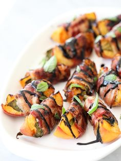 Bacon-Wrapped Grilled Peaches with Balsamic Glaze are the ultimate 4th of July snack