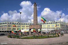 The clock tower at the Miazia 27 square shows the time when Ethiopian patriots arrived in the city in 1941 during a national holiday celebrating the. National Holidays, Patriots, Tower, Clock, Shows, Mansions, House Styles, City, Celebrities
