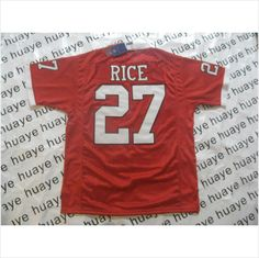 839f4c247e58 Mens Rutgers Scarlet Knights Ray Rice 27 Red Authentic NCAA Football Jersey  on eBid United States