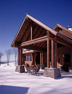 Vermont log home in winter