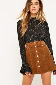 Urban Outfitters Button-Front Corduroy Mink Mini Skirt