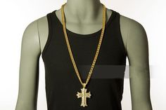 Mens Cross Necklace Crystal Jewllery Cross Gangster Pendant 18k gold plated new #HipHop #Chain