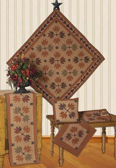 Autumn Leaves Tea Dyed Quilts | Choices Quilts offers Autumn Leaves Tea Dyed Quilts handmade for you! You can shop online or call us toll-free @ 1-800-572-2070 or 770-641-9700.