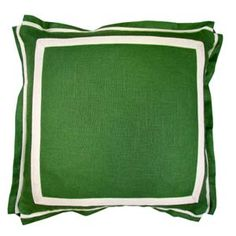 Kelly Green Linen 20 X 20 Pillow With Natural Twill Tape
