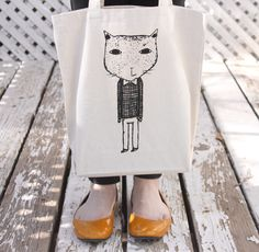 Screenprinted Tote Bag - Mr. Cat Illustration