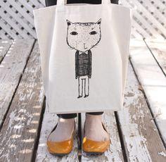 Screenprinted Tote Bag  Mr. Cat Illustration by hellosmallworld, $20.00