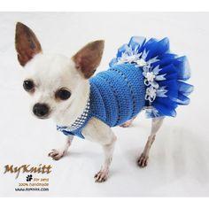 Blue Dog Tutu Dress Pet Wedding Dress Cute Flower Girl Handmade Crochet Myknitt #Myknitt