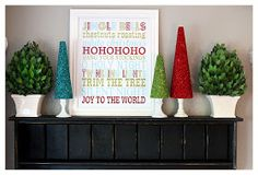 Super easy and inexpensive Christmas decorations - DIY Glitter Trees  love this idea for the corners of our mantel