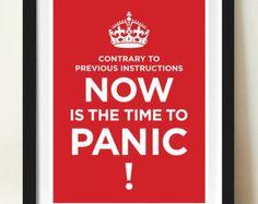 Zitat ruhig Poster, halten Sie, Panik, typografische Poster, Angebot drucken, A3 Künstler Giclee Druck, rot
