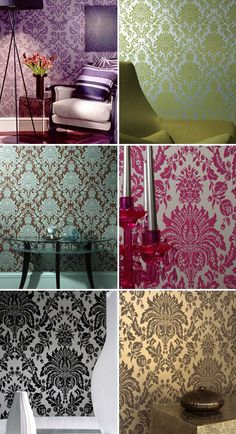 """Such a sucker for this damask wallpaper. """"brocade"""" is also a good keyword."""