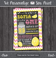 Hey, I found this really awesome Etsy listing at https://www.etsy.com/listing/195572182/pink-lemonade-birthday-invitation