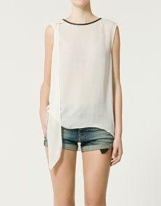 Zara Leather Trim Blouse 64