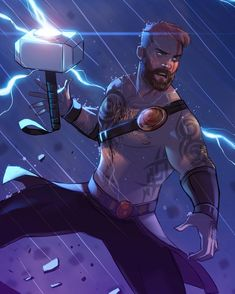Cartoon interpretation of Thor Hq Marvel, Marvel Comic Universe, Marvel Dc Comics, Marvel Heroes, Marvel Cinematic Universe, Comic Character, Character Design, Asgard, Avengers
