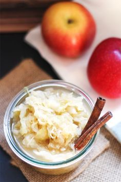 Apple Spice Sauerkraut recipe. Sweet apples, cinnamon, cloves, ginger and cabbage are combined to create your favorite fall flavors in a healing food.