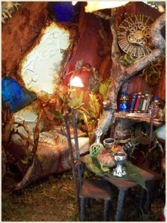 Faerie bedroom, but not clutter free. As I am not a Faerie it would be to small for me :( I can hear me now with a bang and a thwack and a bump,,,and I won't get invited back.