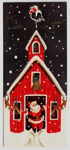 Vintage Santa Claus Coming Out of Deer Barn Christmas Greeting Card