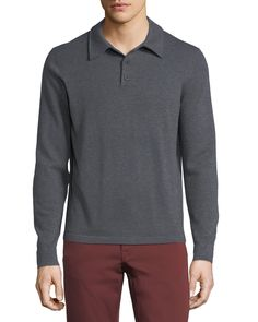 NEIMAN MARCUS CASHMERE LONG-SLEEVE POLO SWEATER. #neimanmarcus #cloth #