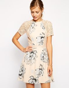 Nude floral print dress with lace sleeves. So charming!
