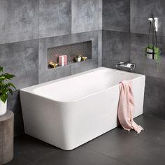Contro Right Hand Corner Bath Modern Bathroom, Small Bathroom, Master Bathroom, Ikea Bathroom, Bathroom Ideas, Bathroom Layout, Bathroom Tubs, Bathroom Plants, Family Bathroom