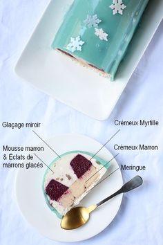 Détails de la bûche myrtille et crème de marron