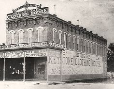 The Bitting Brothers' Keystone Clothing House, built in 1879 on the northwest corner of Douglas and Market in Wichita Old Pictures, Old Photos, Vintage Photos, Victorian Photos, Land Of Oz, Home On The Range, Overland Park, Back In Time, Old West