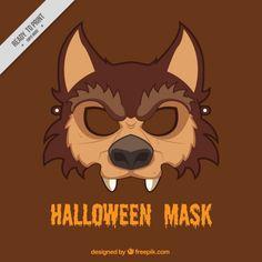 máscara de lobo do dia das bruxas Vetor grátis