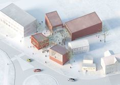 Library Building in Bauska Winning Proposal / A2SM Architects separate buildings joined